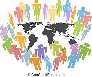 kaart, mensen, globaal, menselijk, aarde, kwesties, bevolking