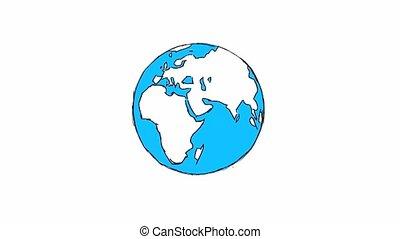 kaart, mensen, paspoortcontrole, animation achtergrond, wereld