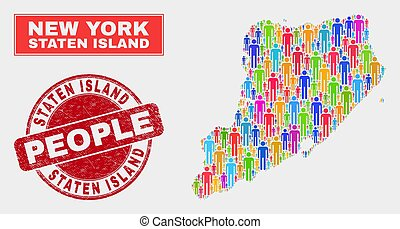kaart, mensen, postzegel, eiland, textured, staten,...