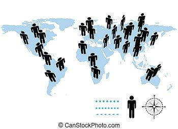 kaart, mensen, symbool, wereld, aarde, bevolking