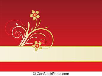 kaart, met, floral ontwerpen