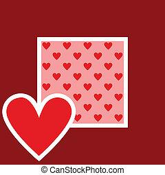 kaart, met, hart knippatroon