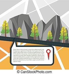 kaart, met, straat, en, bergen