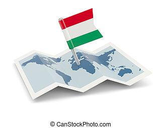 kaart, met, vlag, van, hongarije