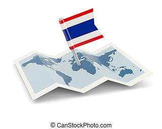 kaart, met, vlag, van, thailand