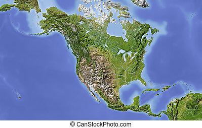 kaart, midden-amerika, verlichting, noorden, gearceerd