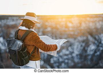 kaart, nationale, jonge, toerist, park