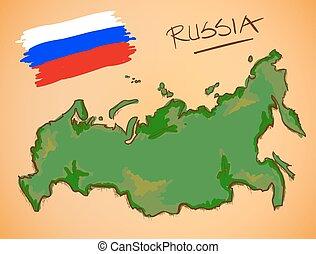kaart, nationale, vector, vlag, rusland