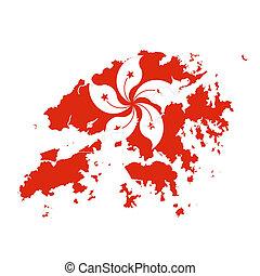 kaart, nationale vlag, hongkong