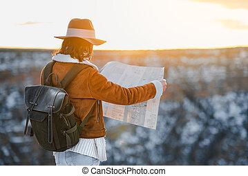 kaart, nationale, wandelaar, jonge, park