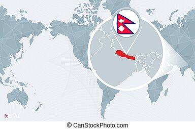 Kaart Nepal Wereld Blauwe Kaart Globe Nepal Oceans