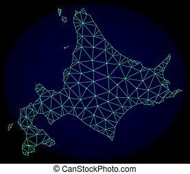 kaart, netwerk, eiland, abstract, maas, polygonal, vector, hokkaido