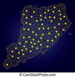 kaart, netwerk, eiland, staten, gele, polygonal, stippen,...