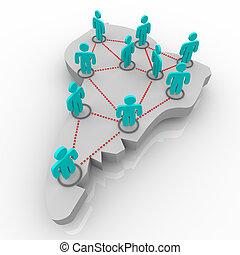 kaart, netwerk, mensen, -, amerika, zuiden