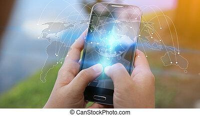 kaart, netwerk, networking, concept., media, zakelijk, samenhangend, globalisatie, sociaal, wereld