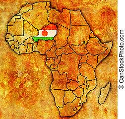 kaart, niger, daadwerkelijk, afrika