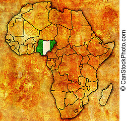 kaart, nigeria, daadwerkelijk, afrika