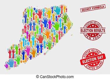 kaart, nood, collage, eiland, electoraal, staten, postzegel,...