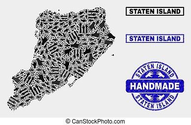 kaart, nood, postzegel, eiland, met de hand gemaakt, staten,...