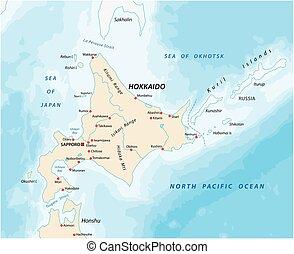 kaart, noorden, japanner, hokkaido, eiland