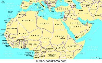 kaart, noorden, politiek, afrika, midden-oosten