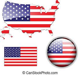 kaart, noorden, usa, amerikaan, maar, vlag