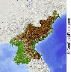 kaart, noorden, verlichting, korea, gearceerd