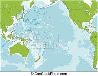 kaart, oceanië