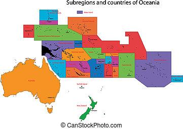 kaart, oceanië, kleurrijke