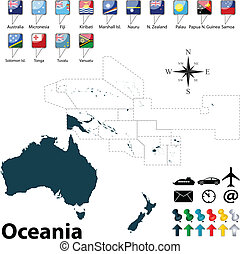 kaart, oceanië, politiek