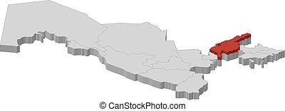 kaart, -, oezbekistan, tashkent, gebied, -, 3d-illustration