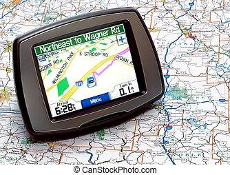 kaart, of, navigatiesysteem