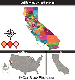 kaart, ons, californië