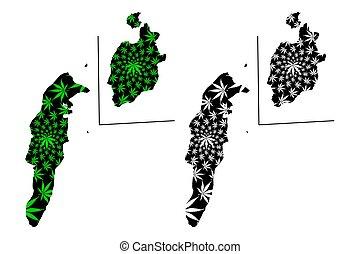 kaart, ontworpen, marihuana, (marihuana, andres, kerstman,...
