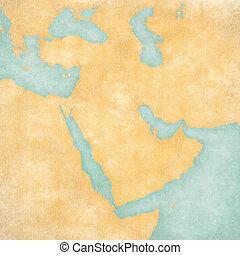 kaart, oosten, -, cyprus, middelbare