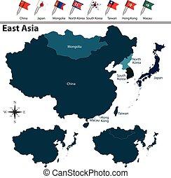 kaart, oosten, politiek, azie