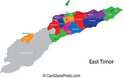 kaart, oosten, timor