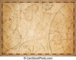 kaart, oud, achtergrond, nautisch