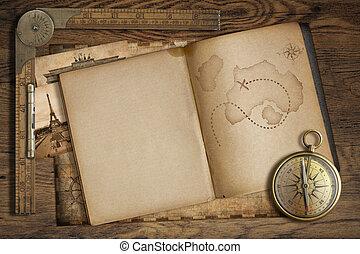 kaart, oud, advertentie, ouderwetse , schat, ruler., boek, kompas, open