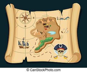 kaart, oud, eiland, schat, chest., illustratie, adventures., vector, zeerover