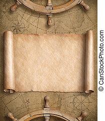 kaart, oud, leeg, nautisch, wielen, stuurinrichting