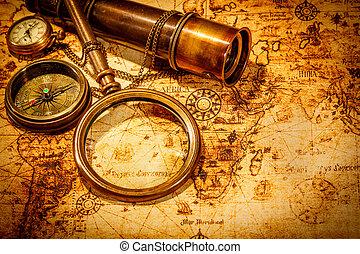 kaart, oud, ligt, ouderwetse , glas, wereld, vergroten