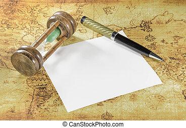 kaart, oud, pen, papier, wereld, hourglass