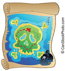 kaart, oud, perkament, zeerover