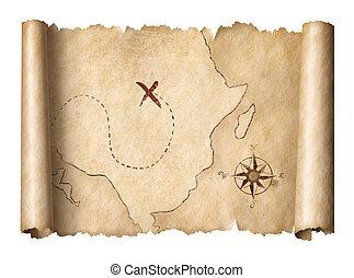 kaart, oud, piraten, schat, vrijstaand, illustratie, boekrol, 3d