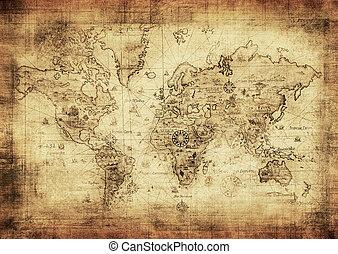 kaart, oud, wereld