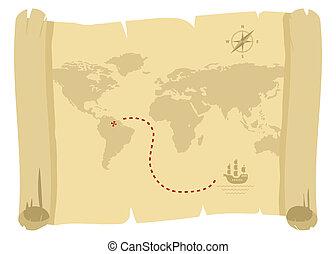kaart, oud, zeerover