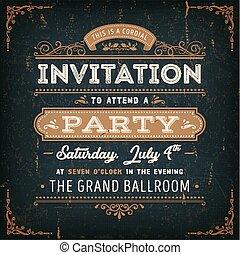 kaart, ouderwetse , chalkboard, feestje, uitnodiging