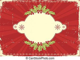 kaart, ouderwetse , kerstmis, rood, tekst