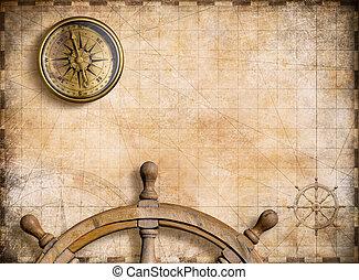 kaart, ouderwetse , nautisch, illustratie, achtergrond, kompas, 3d